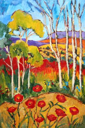 Hillside Poppies by artist elaine lanoue. Giclee prints, art prints, a landscape, colorful contemporary art; from an original acrylic painting