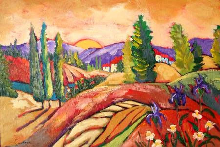 mountain retreat by artist elaine lanoue. Giclee prints, art prints, a landscape, colorful contemporary art; from an original acrylic painting