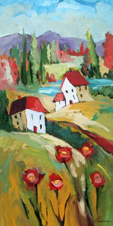 Mountain Village by artist elaine lanoue. Giclee prints, art prints, a landscape, colorful contemporary art; from an original acrylic painting