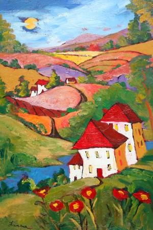 Red Hills by artist elaine lanoue. Giclee prints, art prints, a landscape, colorful contemporary art; from an original acrylic painting