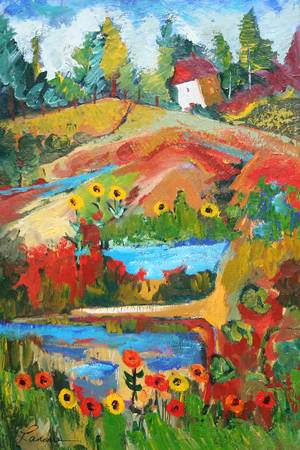 summer delight by artist elaine lanoue. Giclee prints, art prints, a landscape, colorful contemporary art; from an original acrylic painting
