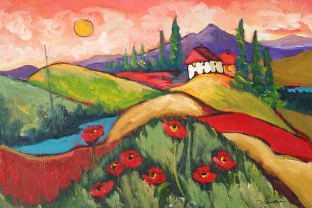 Sunny Skies by artist elaine lanoue. Giclee prints, art prints, a landscape, colorful contemporary art; from an original acrylic painting