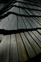 Wooden strip slates roof