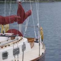 Red Boat in Egg Harbor by Jacki Mroczkowski