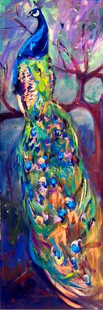 Peacock In Tree Original Painting by Ginette