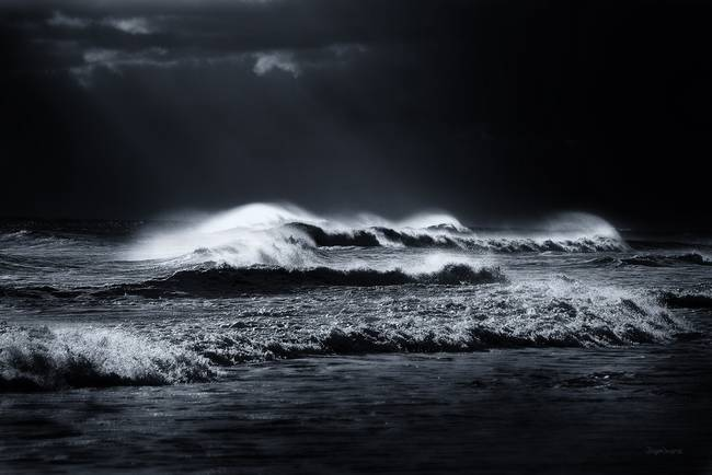 Black and White Photography. Atlantic Ocean Waves