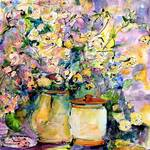 Wildflowers and Crock Pots Watercolor by Ginette