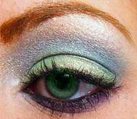 Super macro Green eye with eyeshadow from mac and