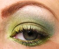 Green M.A.C. eyeshadow on a green eye.