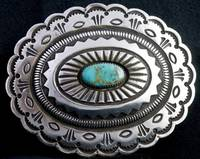 Calvin Martinez, Sterling Silver Belt Buckle, Conc
