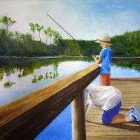 Boys Fishing on Pond Creek Art Prints & Posters by Scott Shiffer