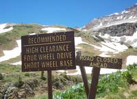 Sign on one the Jeep roads in Yankee Boy Basin