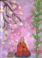 Buddhist Monk under the Cherry Blossom Tree