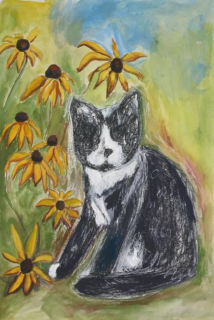 Blind Cat with Black Eyed Susans by Elena Fischer-Greenman