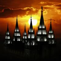 """20x30 Salt Lake Temple Sunset Spires"" by lightvoyages"