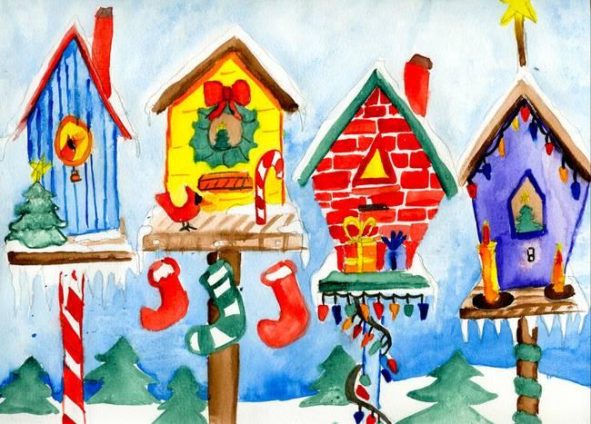 Christmas Birdhouses.Christmas Birdhouses By Christen Hulsey