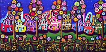 Whimsical Trees Houses Blossoms