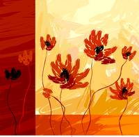 Digital painting of a bunch of flowers