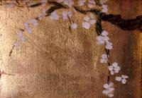 plum blossoms on gold leaf