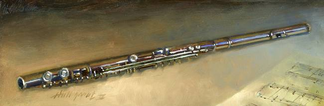 Flute by artist Hall Groat II. Giclee prints, art prints, a still life, fine art print; from an original oil painting