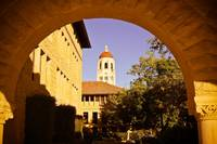 Hoover tower through the arch.