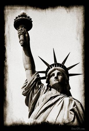 New York, Statue of liberty, Antique Sepia by Dan O'Flynn