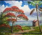 Flowering Royal Poinciana Tree by Mazz Original Paintings