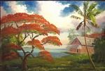 Royal Poinciana Refuge by the Lake by Mazz Original Paintings