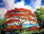 Royal Poinciana Sailboat by Mazz Original Paintings