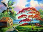 Royal Poinciana River Shack by Mazz Original Paintings