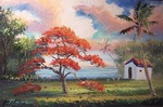 Blooming Royal Poinciana Lake & Shack by Mazz Original Paintings