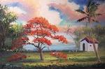 Blooming Royal Poinciana Lake & Shack by Mazz Original Paintings
