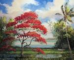 Royal Poinciana Boat by Mazz Original Paintings