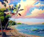 Tropical Beach by Mazz Original Paintings