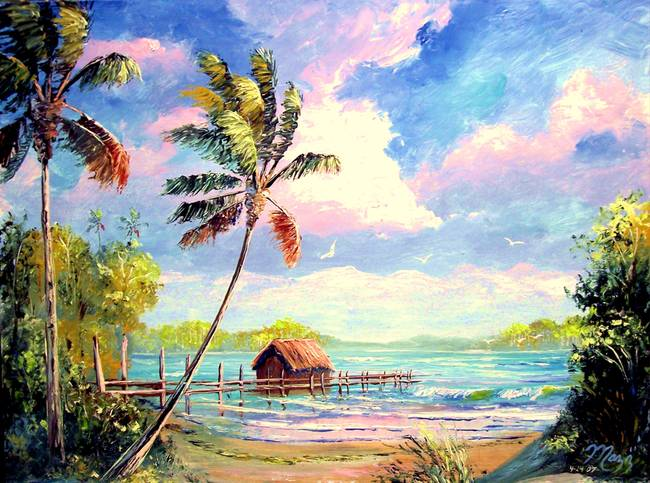 Boat House Beach by Mazz Original Paintings in Tropical on MAZZ ART