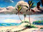 Tropical Sandy Beach by Mazz Original Paintings