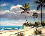 Tropical Beach Bluffs by Mazz Original Paintings