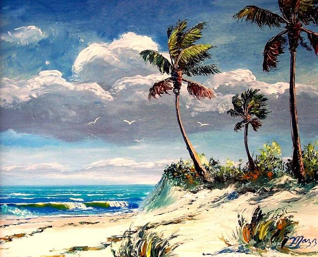 Tropical Beach Bluffs By Mazz Original Paintings In