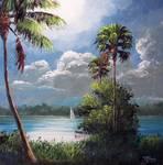 Moonlit Sailing by Mazz Original Paintings