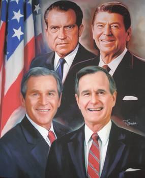 The Presidents Bush Sr Bush Jr Reagan And Nixon By Frank