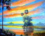Sunset Fire Sky 2 by Mazz Original Paintings