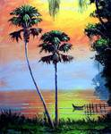 Sunny Lake Beauty by Mazz Original Paintings
