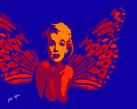 Marilyn Monroe Nude Fairy in Blue abd Red
