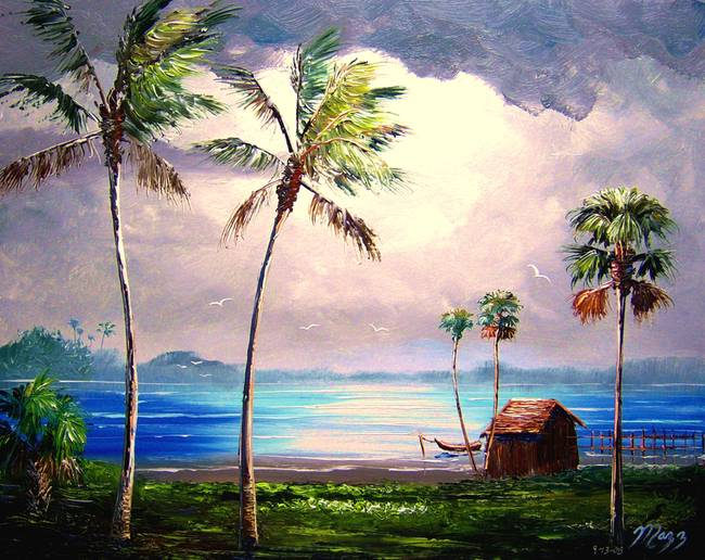 Lake Shack by Mazz Original Paintings in Tropical on MAZZ ART