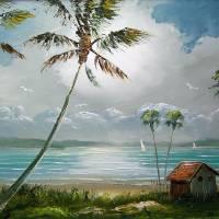 """Moonlit Tropical Lake Shack"" by mazz"
