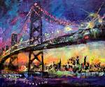 City Night & Bridge From Original Painting by Gine Posters