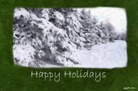 Snow-Covered Evergreen Trees - Happy Holidays
