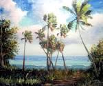 Palm Tree Lagoon by Mazz Original Paintings