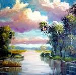 Wild Florida Marsh River by Mazz Original Paintings
