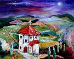 Chapel In Tuscany Night Stars Posters
